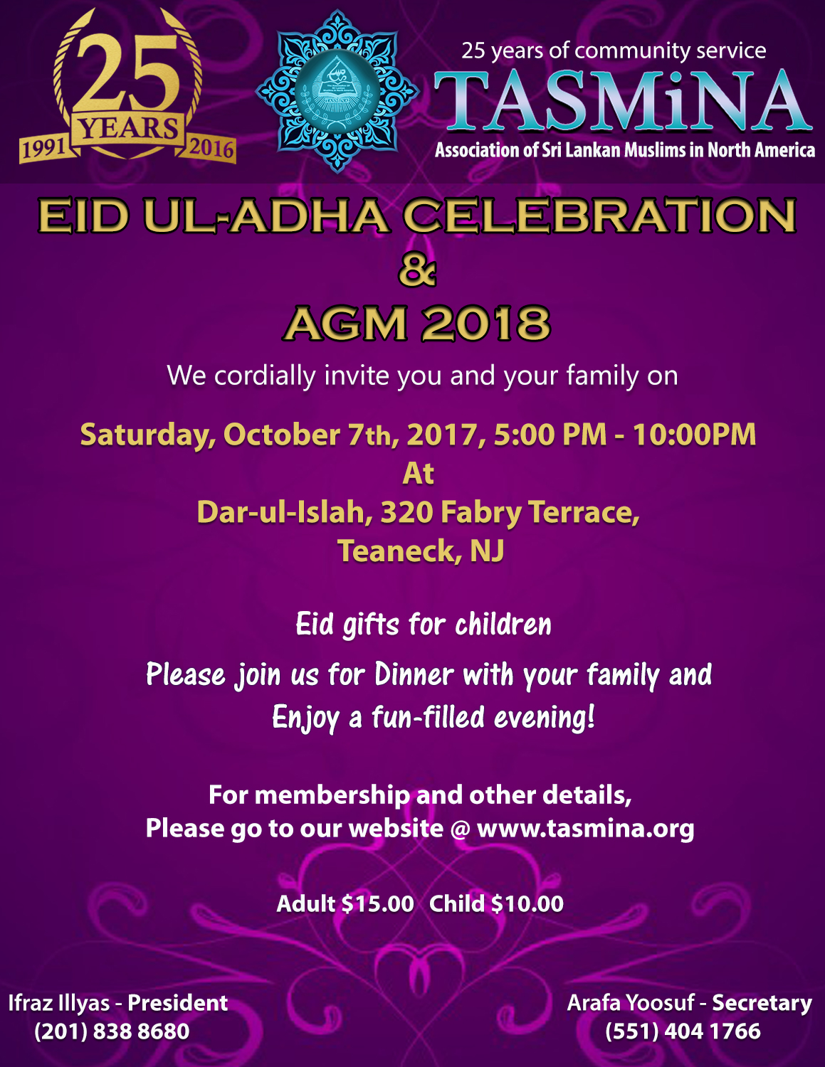 EID Ul- Adha Celebration & AGM 2018 | TASMiNA